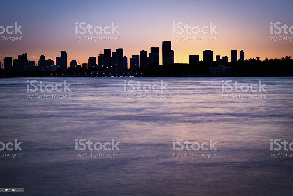 Silhouettes of Miami skyline royalty-free stock photo