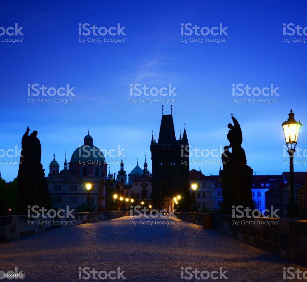 Silhouettes of Prague stock photo