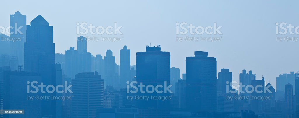 Silhouettes of skyscrapers of a city stock photo