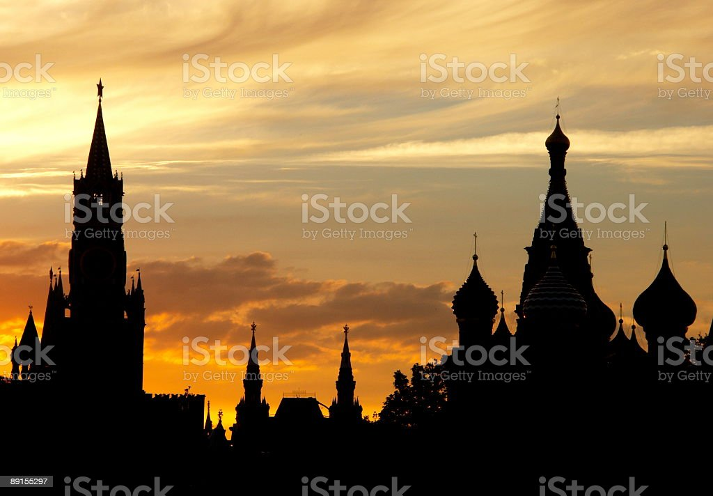 Silhouettes of the Moscow Kremlin stock photo
