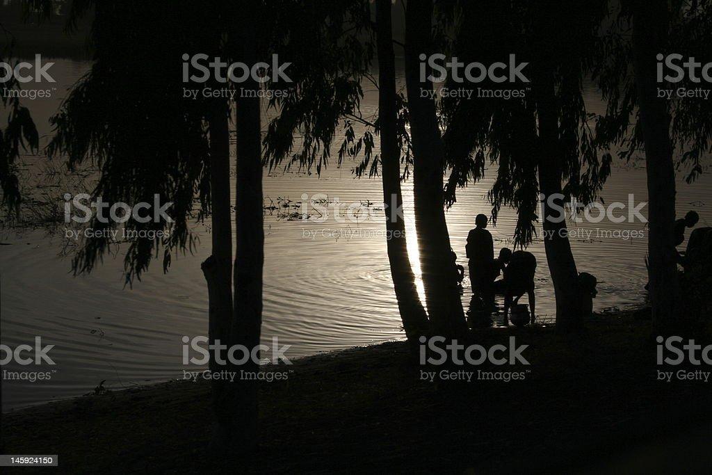 Силуэты реки Нигер. Стоковые фото Стоковая фотография