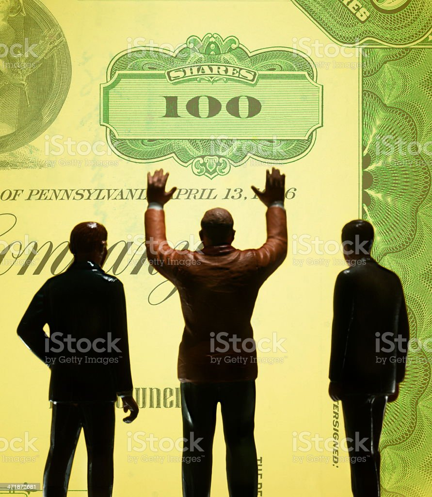 Silhouettes of Three Businessmen royalty-free stock photo