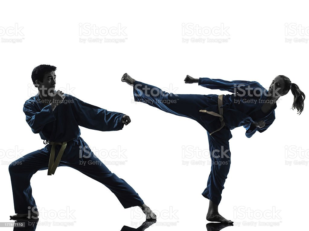 Silhouettes of two martial artists in motion  stock photo