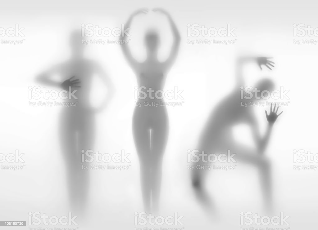 Silhouettes of Women in Different Positions royalty-free stock photo