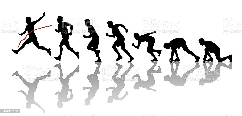 silhouettes of young man winning a marathon stock photo