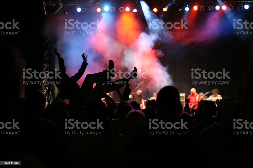Silhouettes on music concert royalty-free stock photo