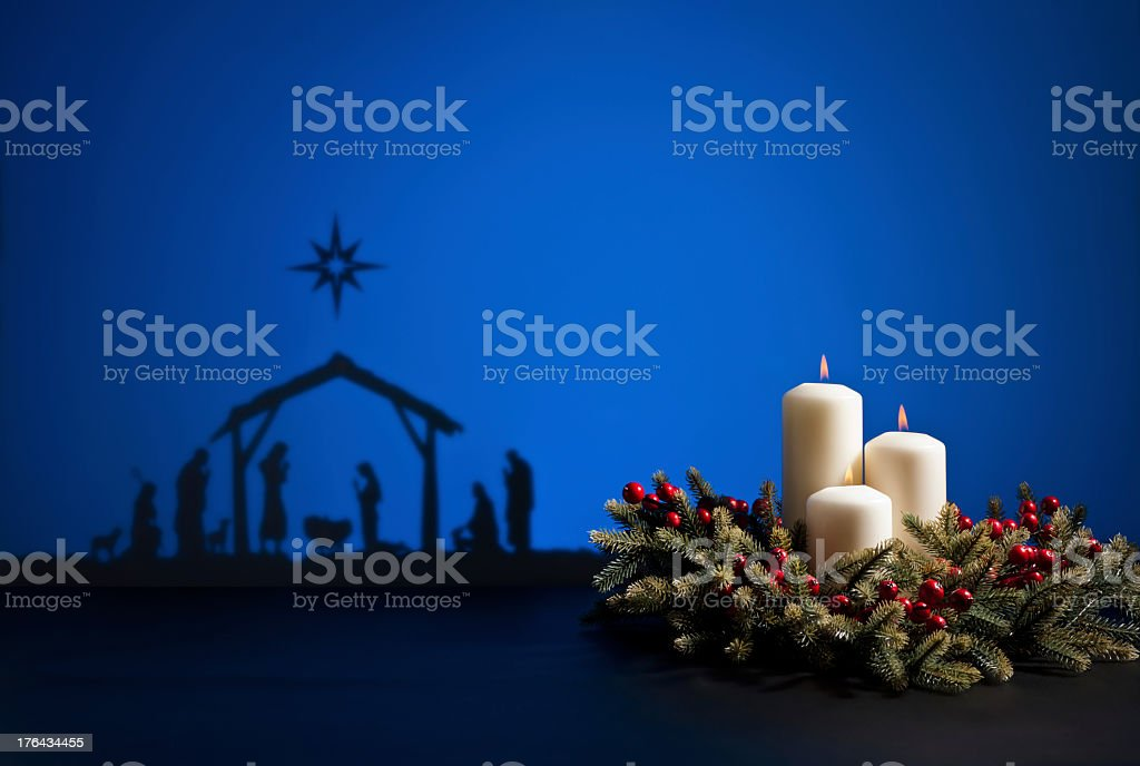 Silhouettes the birth of Jesus royalty-free stock photo