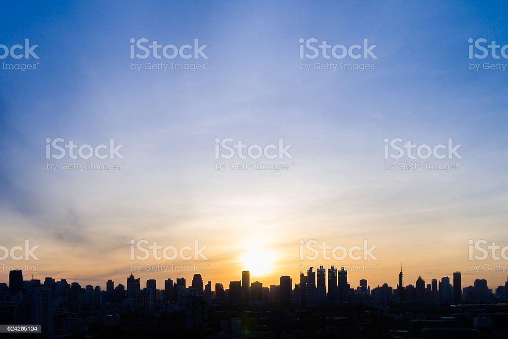 Silhoutte city skyline stock photo