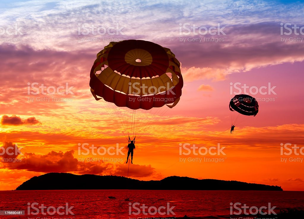 silhoutte of paraglider royalty-free stock photo