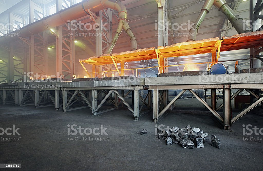 Silicon metal production stock photo