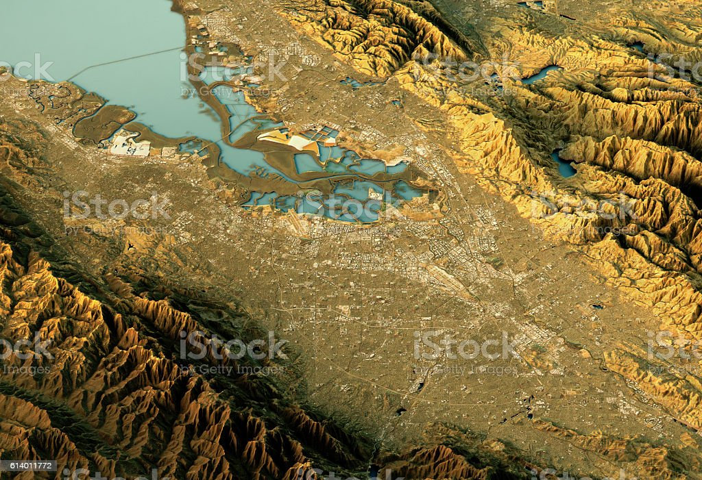 Silicon Valley 3D Landscape View South-North Natural Color stock photo