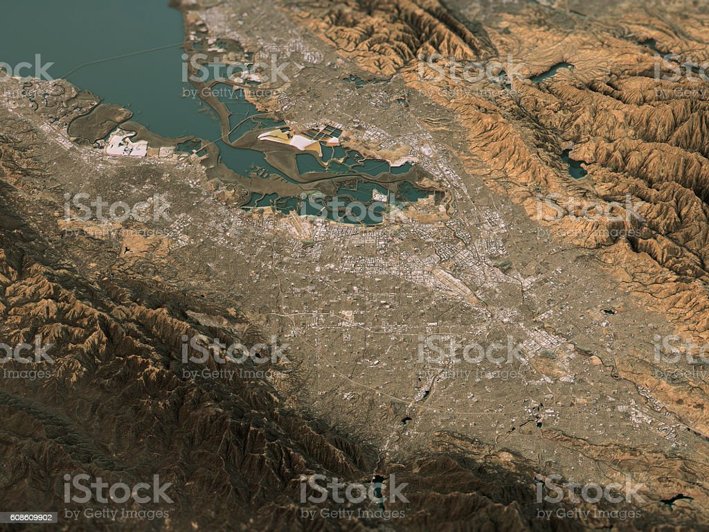 Silicon Valley Topographic Map 3D Landscape View Natural Color stock photo