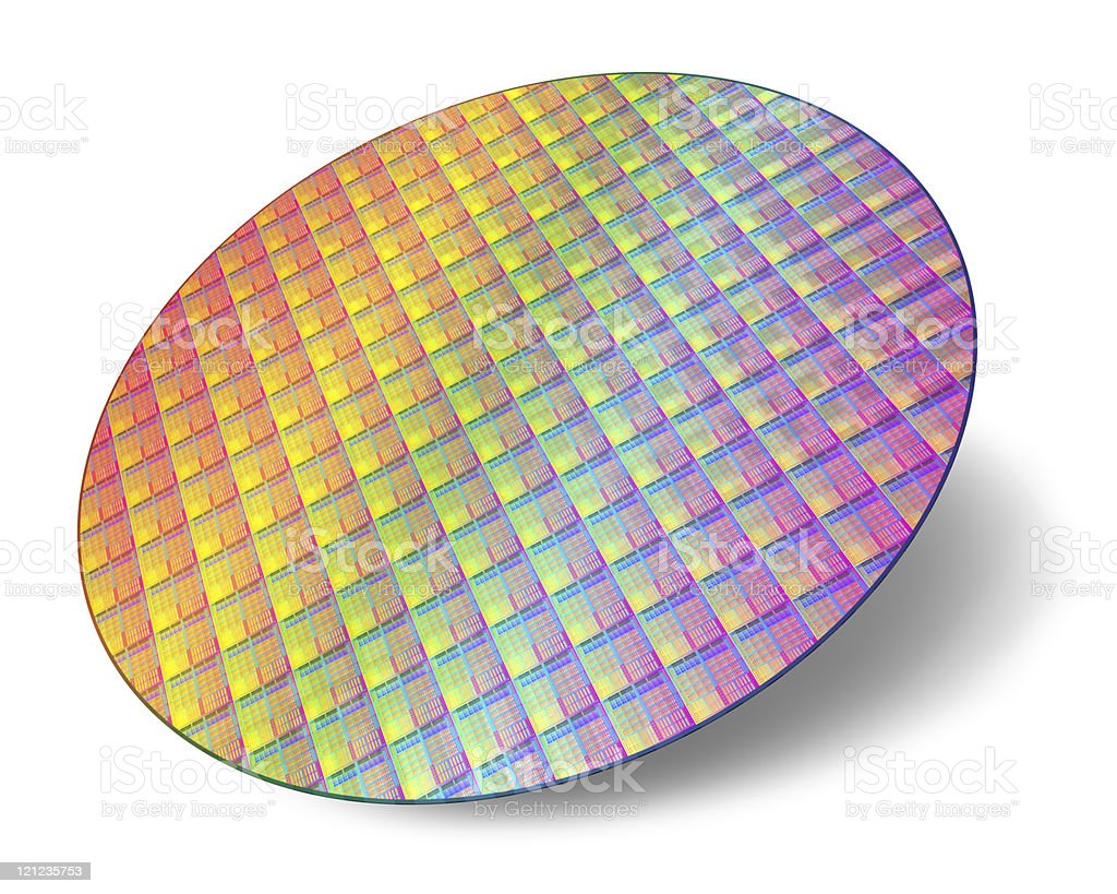 Silicon wafer with processor cores stock photo