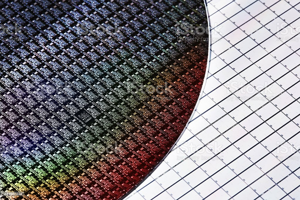 Silicon wafers stock photo