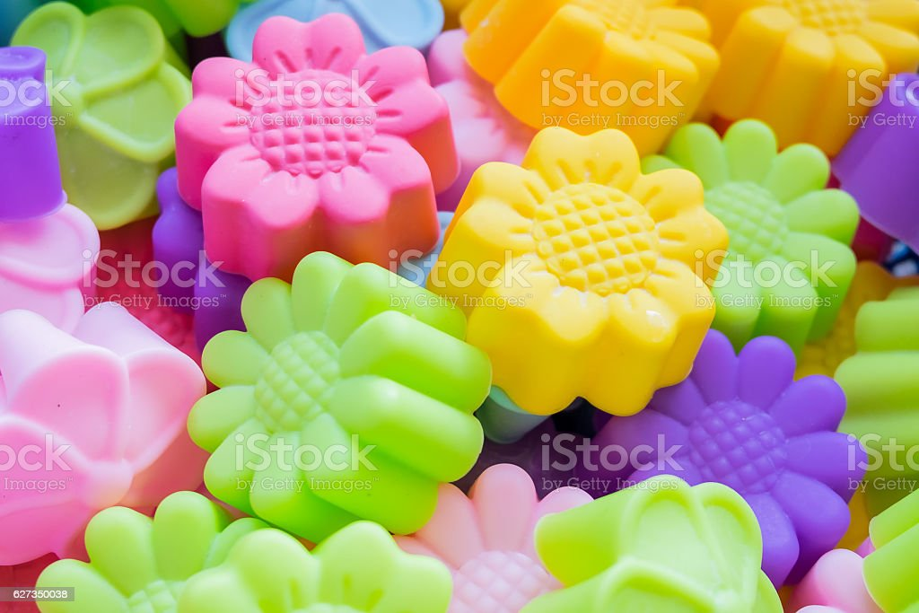 Silicone baking molds stock photo