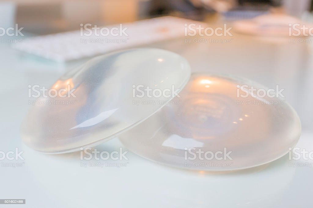 Silicone breast implant stock photo