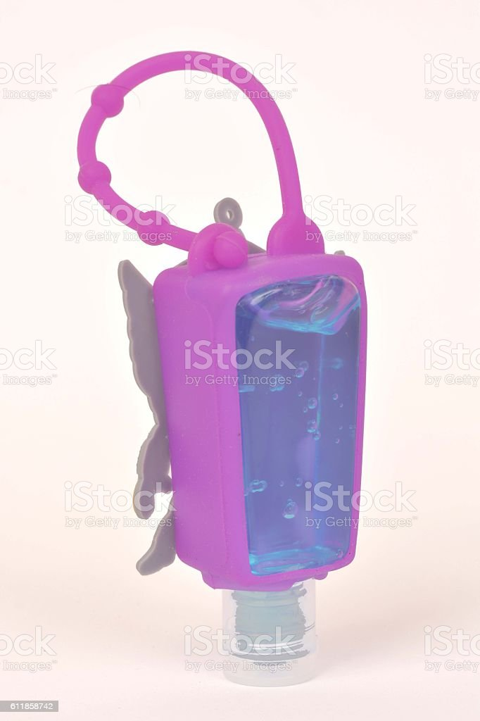 silicone hand sanitizer holder and Alcohol Gel Hand Sanitizer stock photo