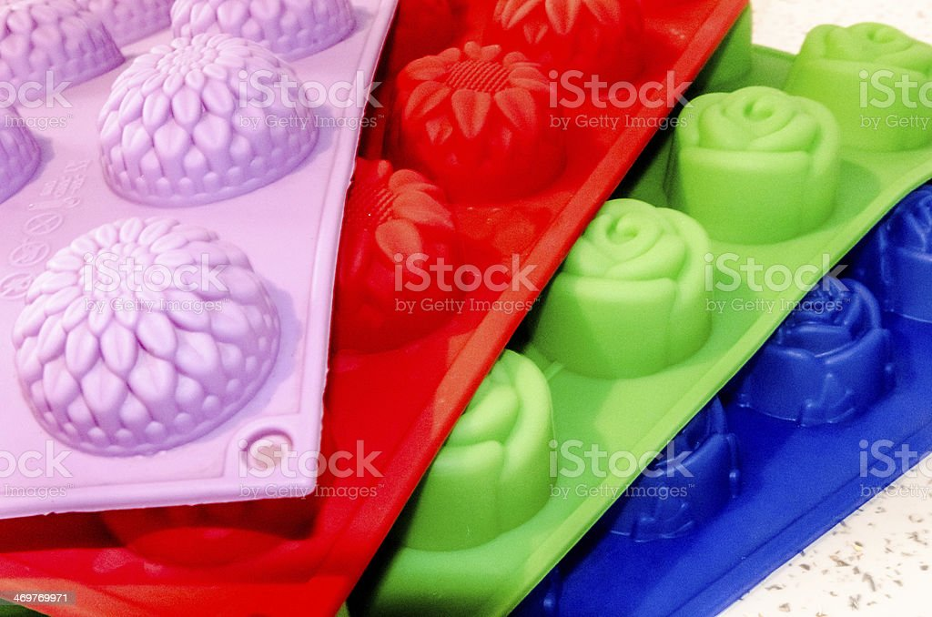 Silikon molds in all colors. stock photo