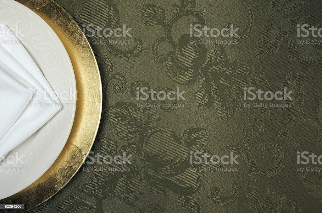 Silk Background and Plate Setting royalty-free stock photo