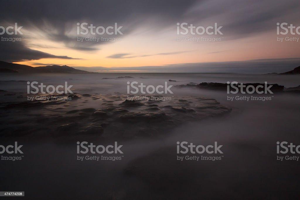 Silk effect on the Lastron beach, Muskiz stock photo