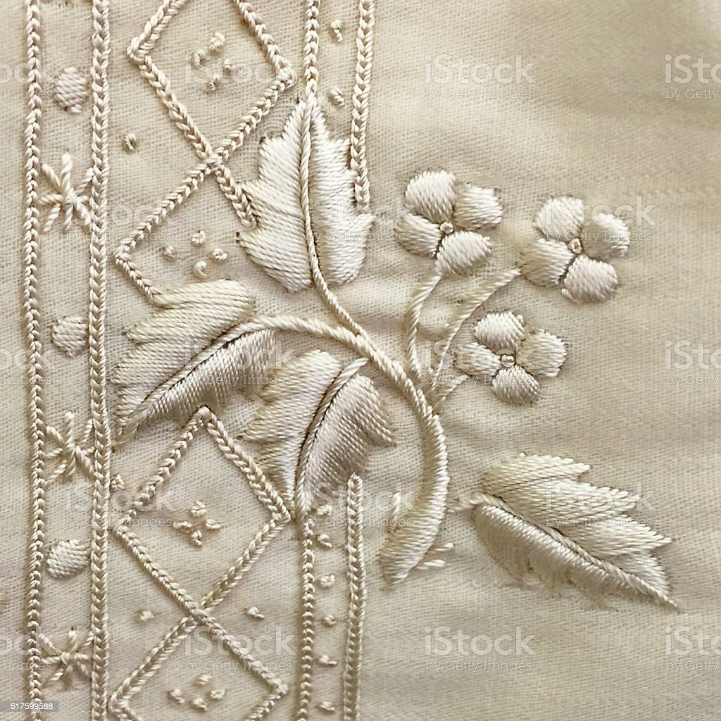silk embroidery on wool stock photo