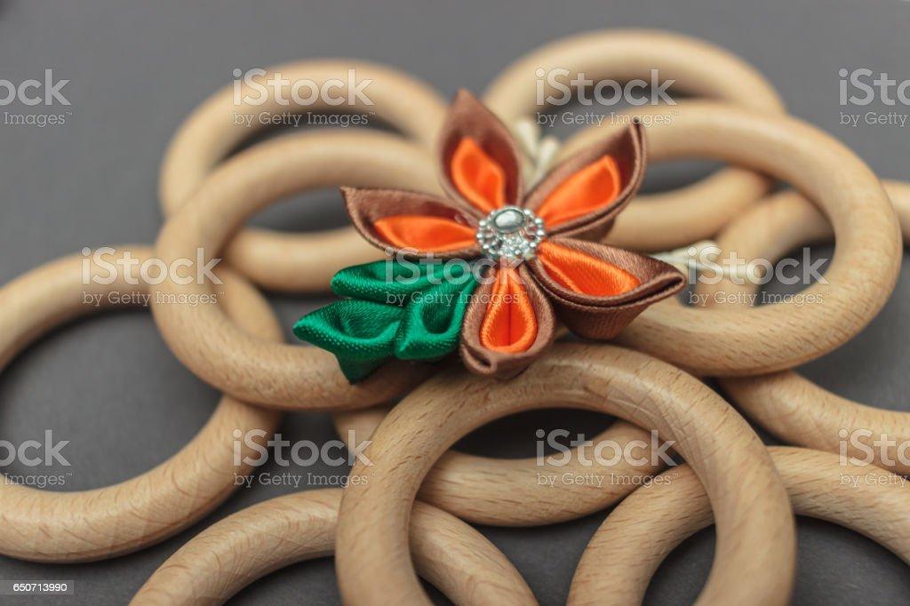 Silk fabric flower stock photo