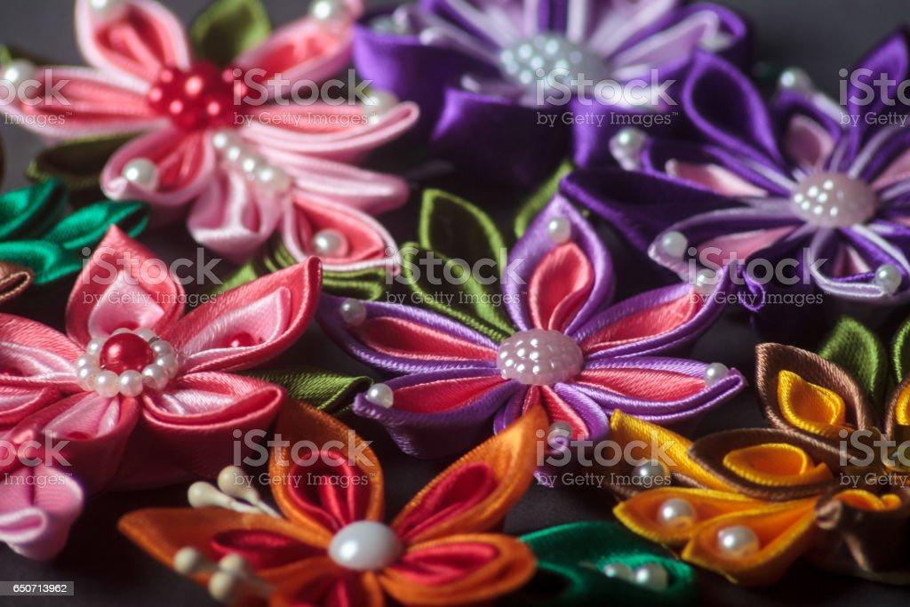 Silk fabric flowers stock photo