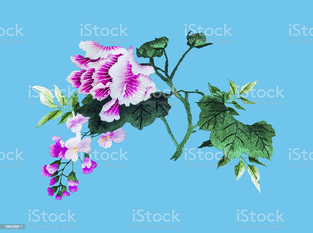 Silk flower sewing royalty-free stock photo