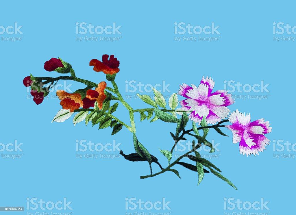 Silk flower sewing stock photo