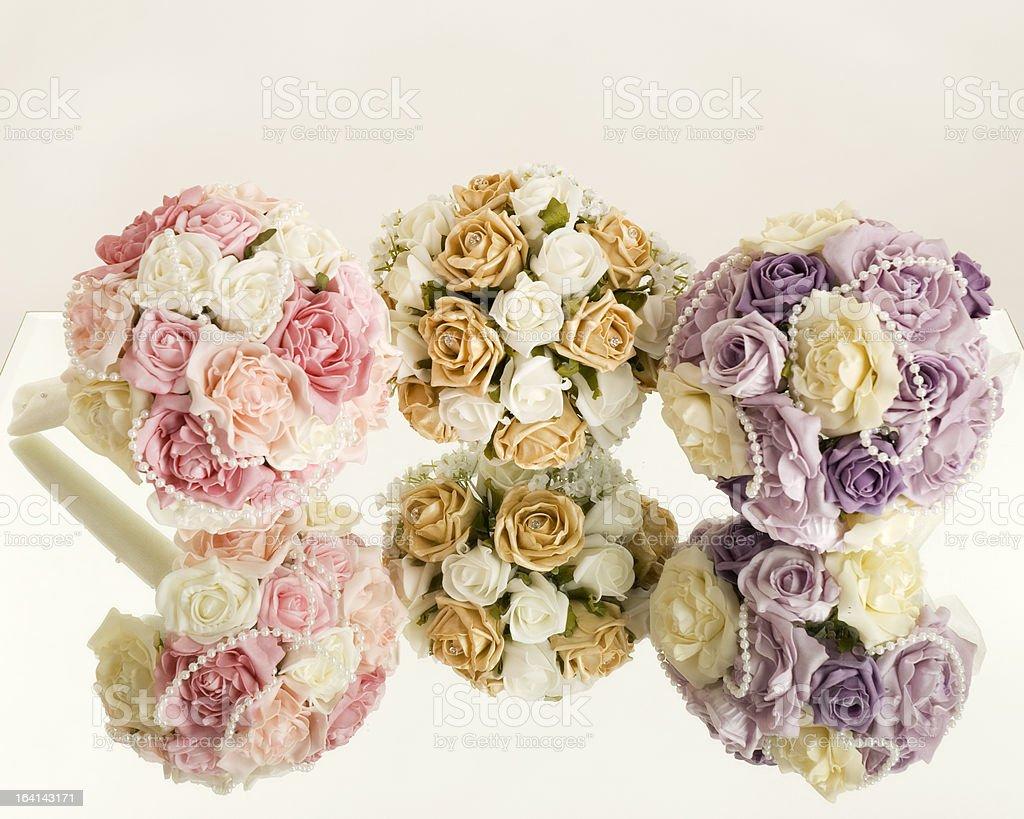 silk flowers on mirror royalty-free stock photo