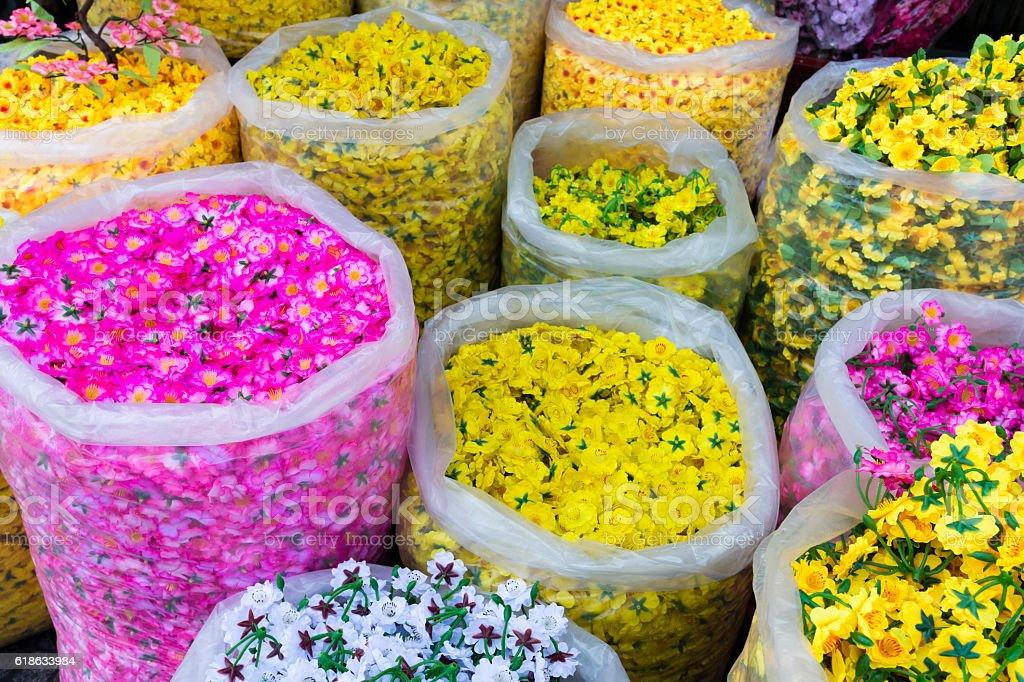 Silk Flowers Vietnam stock photo