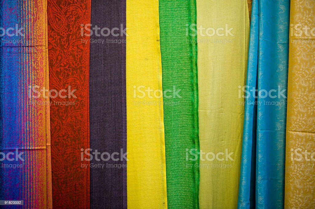 Silk goods in souvenir store royalty-free stock photo
