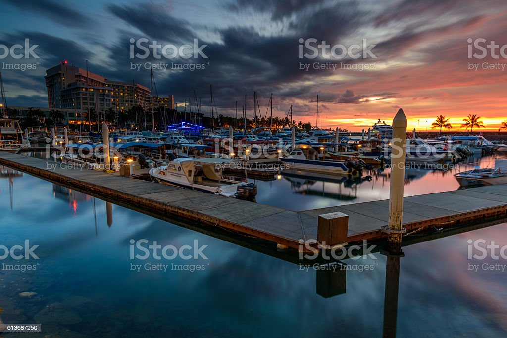 Sutera Harbour Marina sunset stock photo