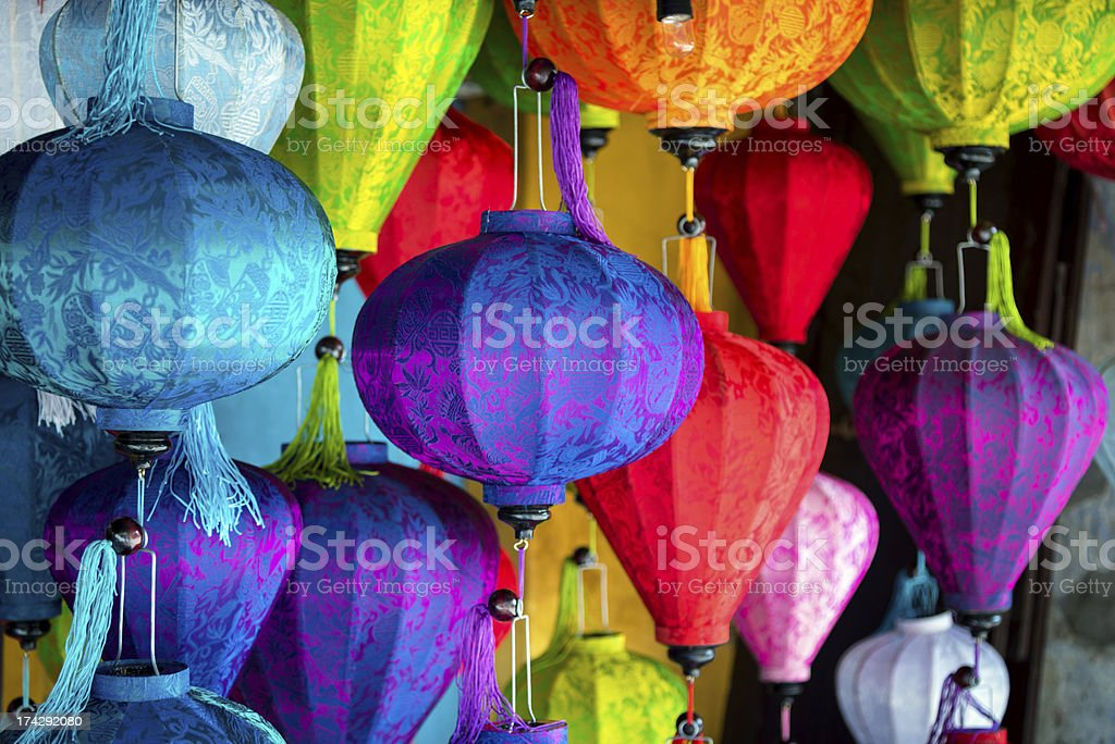 Silk Lanterns in Asia stock photo