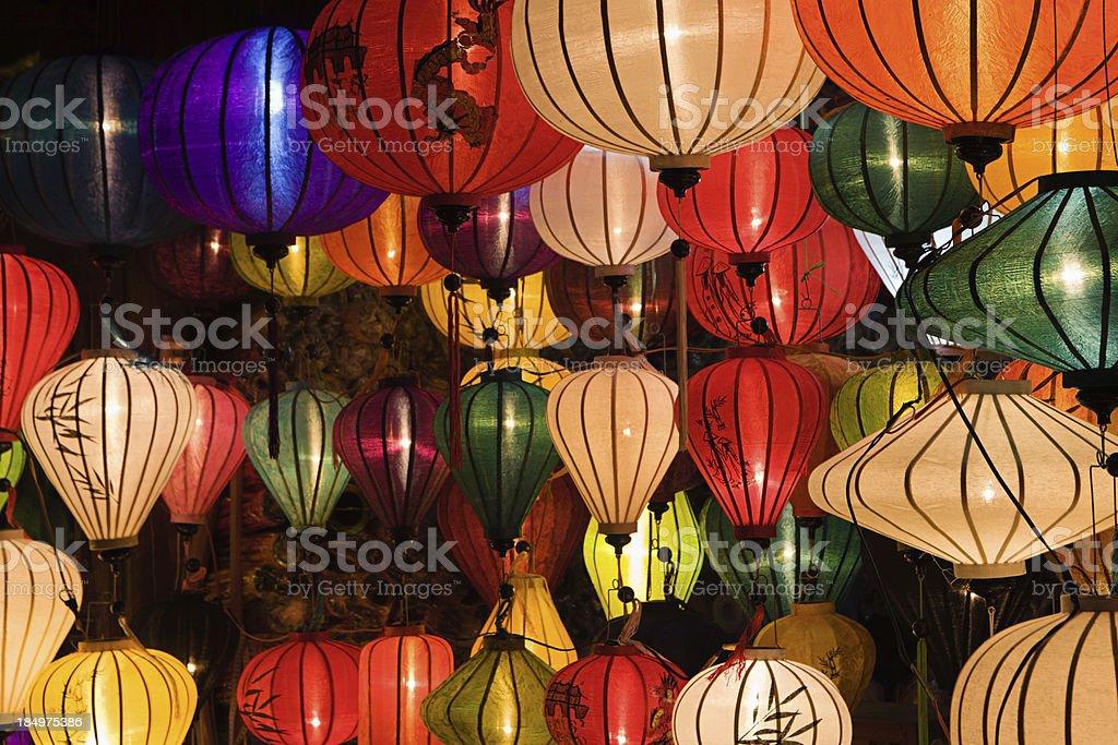 Silk lanterns in Hoi An city, Vietnam royalty-free stock photo