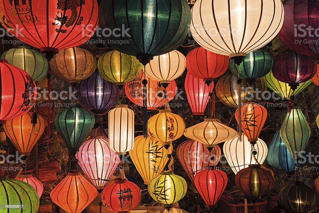 'Silk lanterns in Hoi An city, Vietnam' stock photo