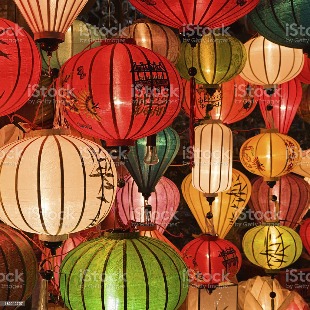 Silk lanterns in Hoi An city, Vietnam stock photo
