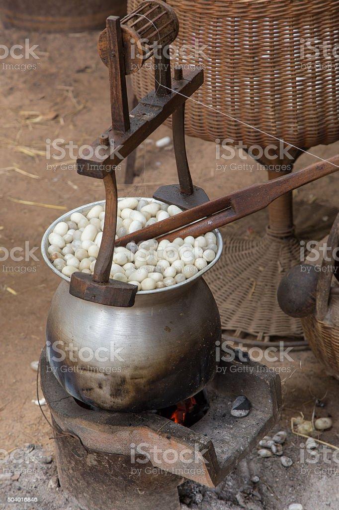 Silk production process stock photo