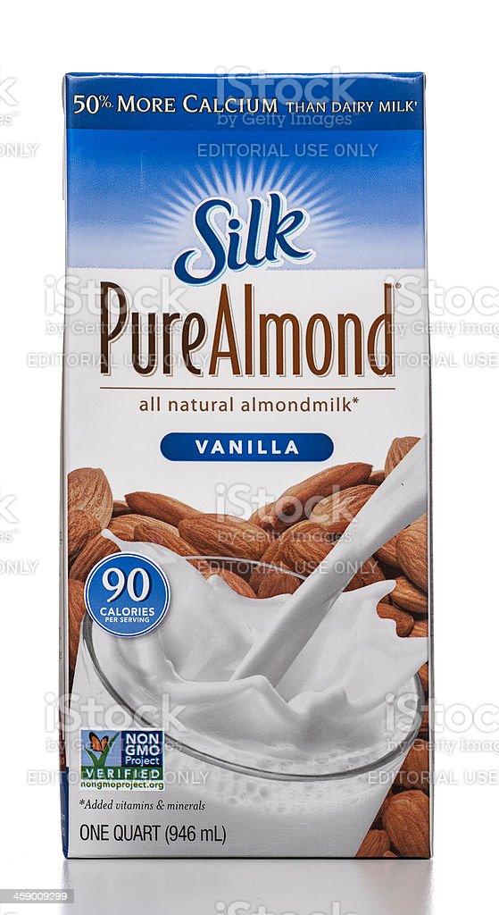 Silk Pure Almond Vanilla milk royalty-free stock photo