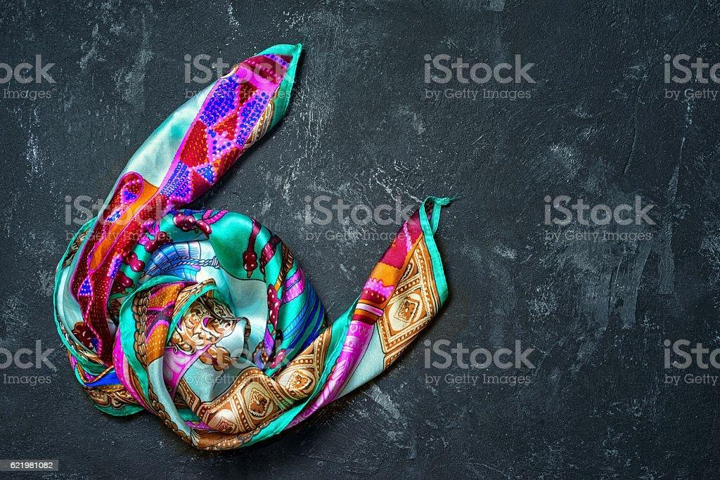 Silk scarf on a black background stock photo