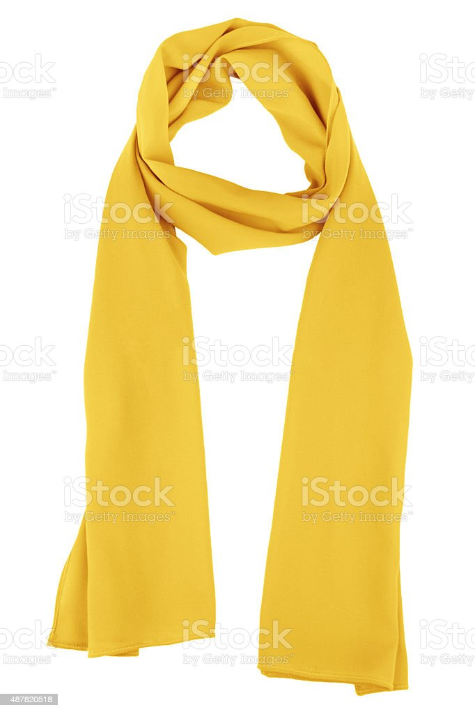 Silk scarf. Yellow silk scarf isolated on white background stock photo