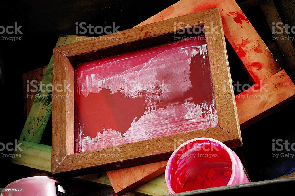 silk screen frames stock photo
