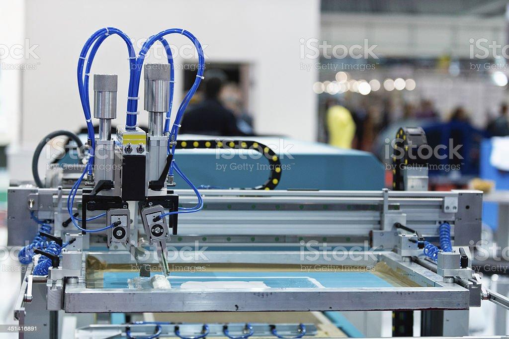 Silk screen printing machine stock photo