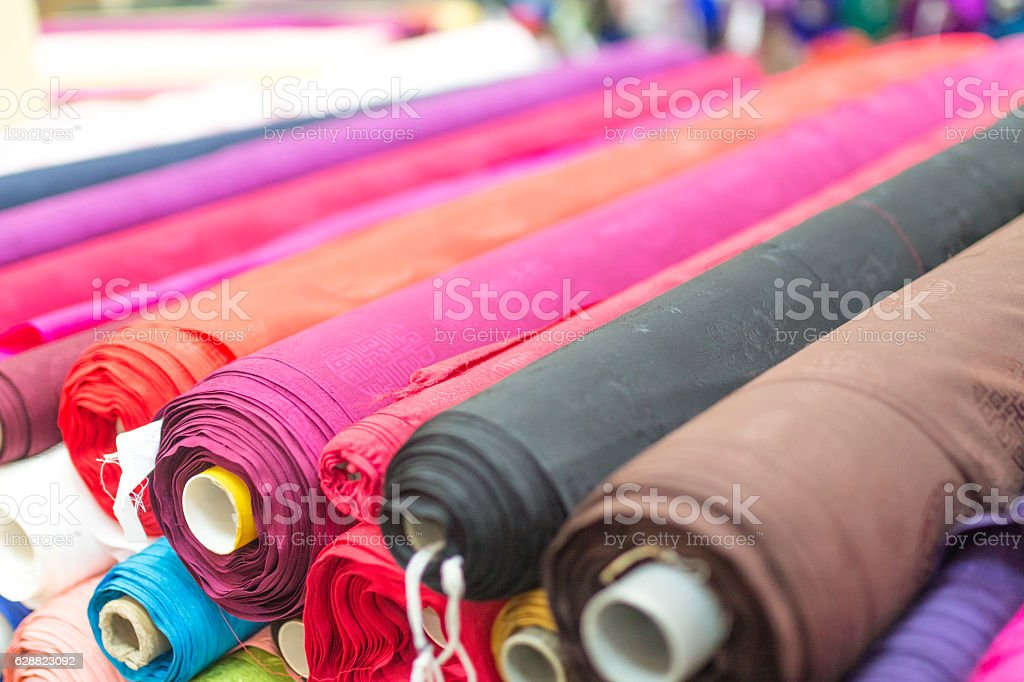 silk textile sold in the market stock photo
