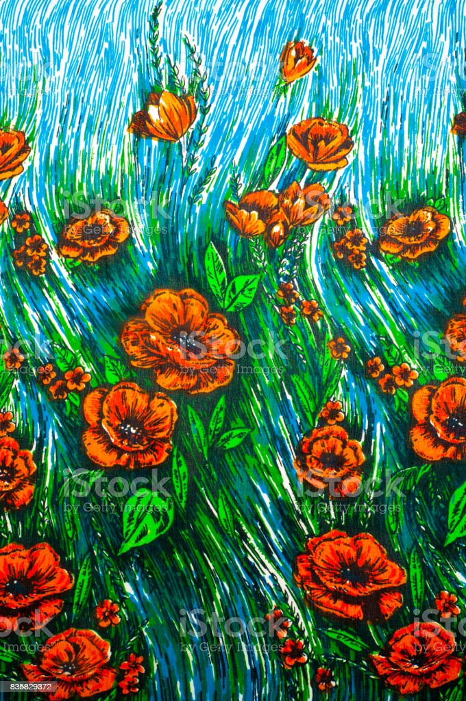 silk texture, background, painted flowers poppy stock photo