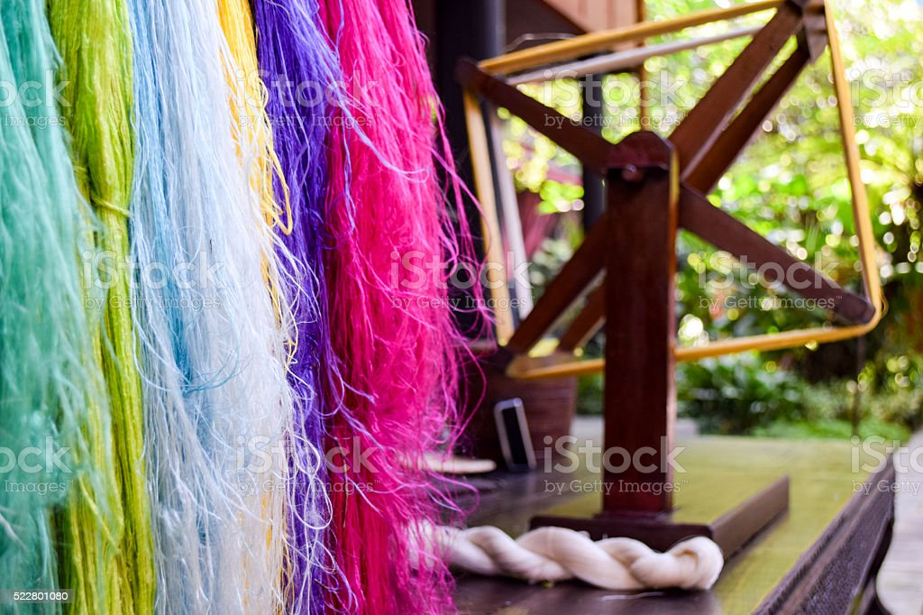 Silk thread with traditional spinning wheel in background stock photo