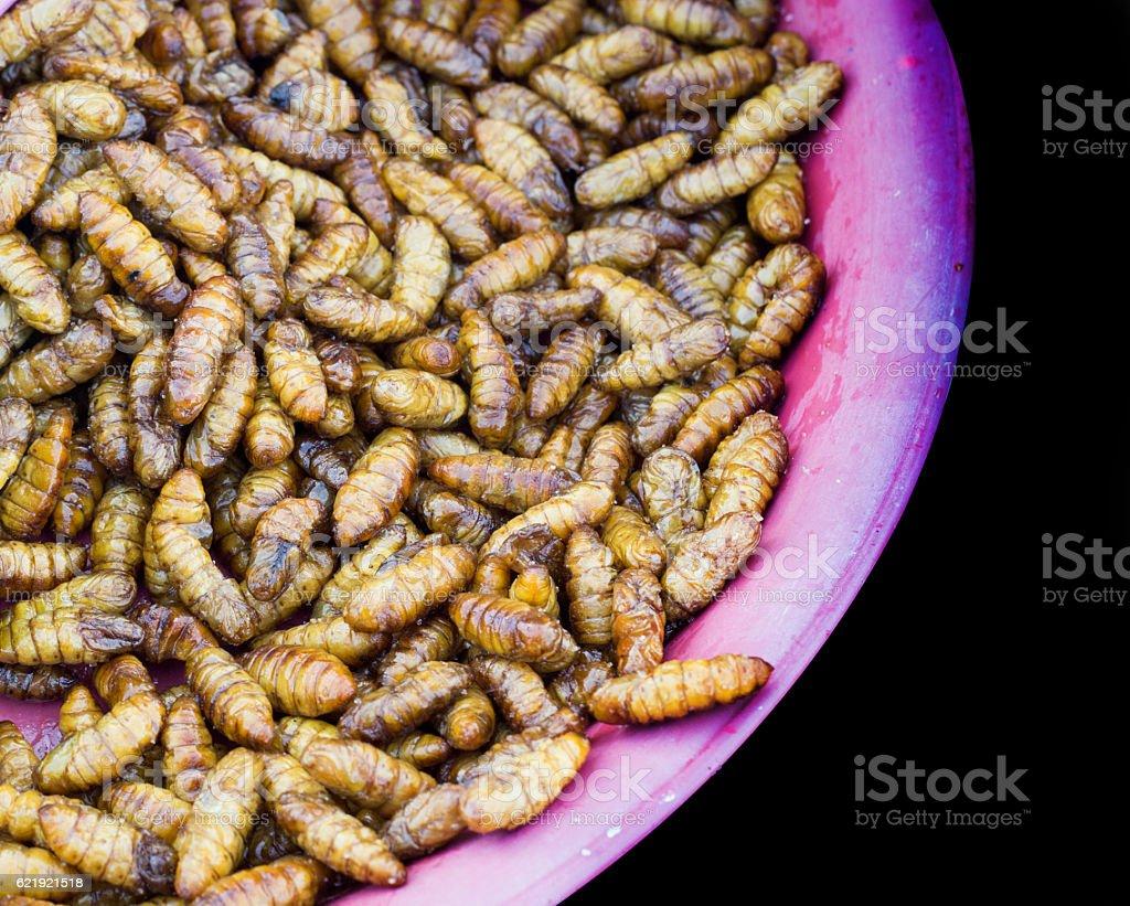 silkworm boil with salt on plate of street market stock photo