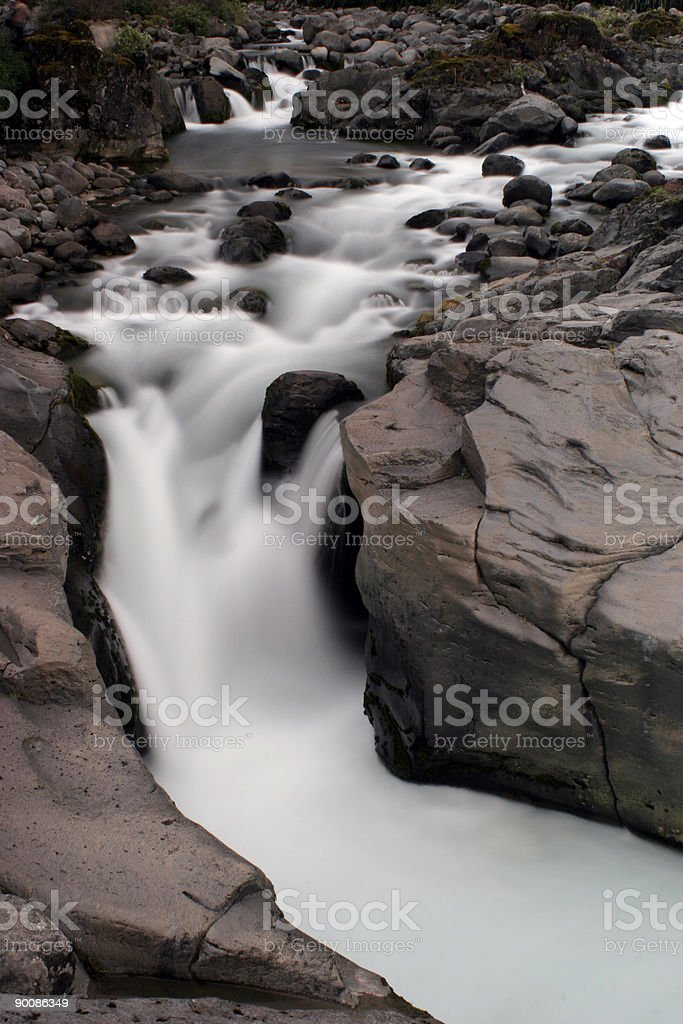 Silky smooth water down river over rocks royalty-free stock photo