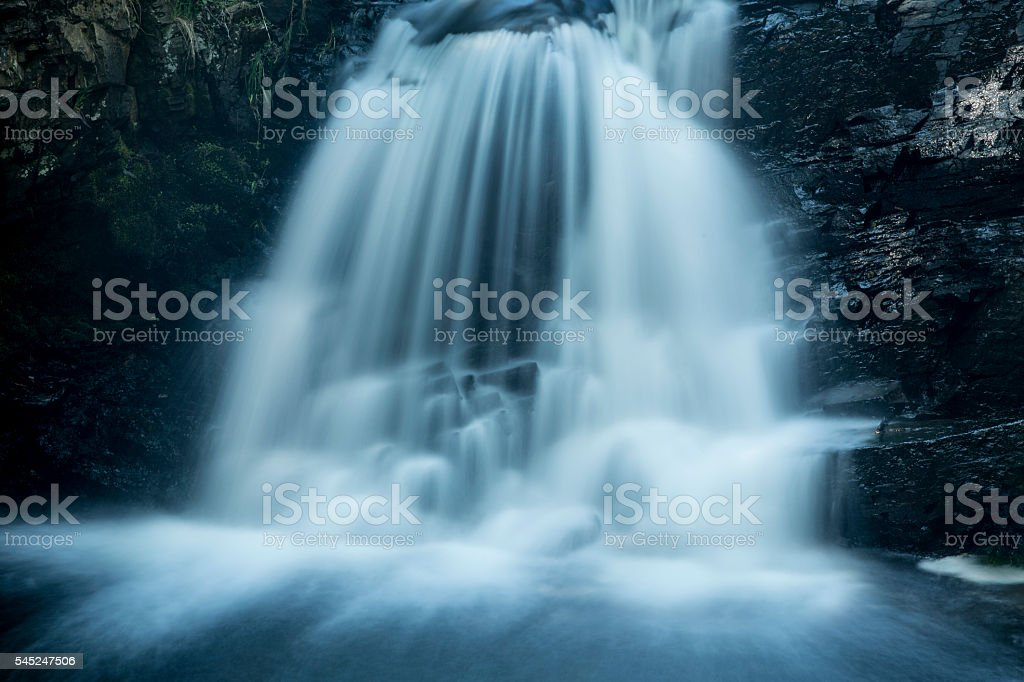 Silky water of Tankerhoosen Falls in Rockville, Connecticut. stock photo