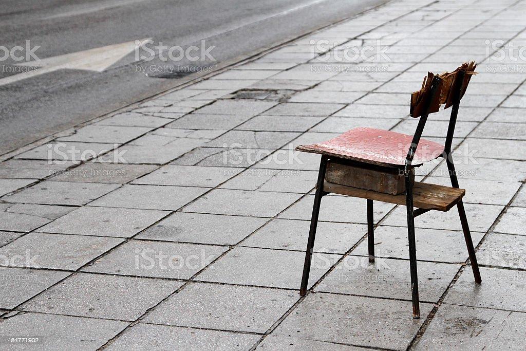 Silla solitaria stock photo